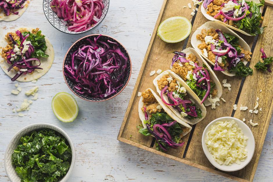 Tacos de porc avec kale