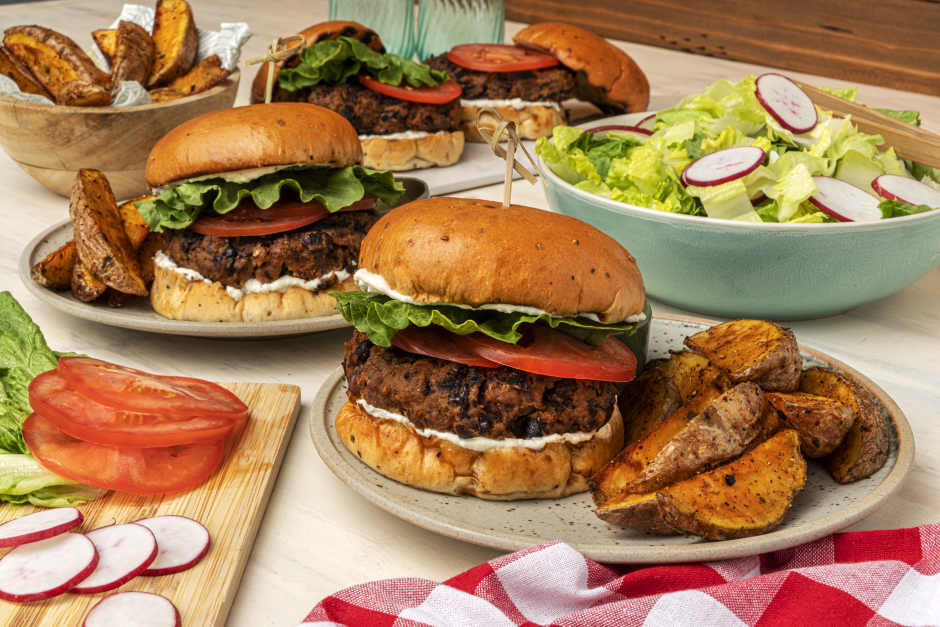 Beef & Black Bean Burgers with Whipped Feta