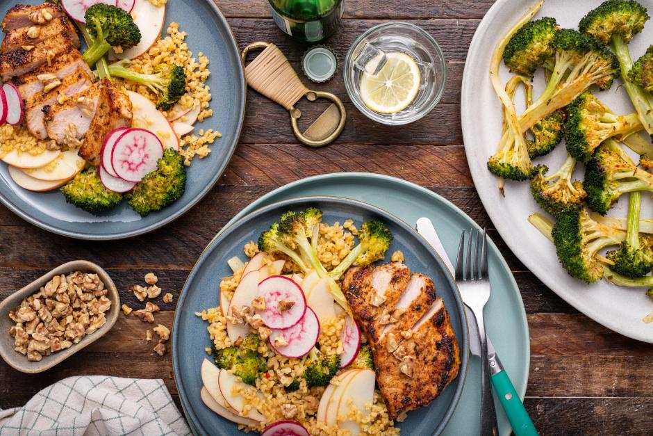 Pork Chops with Warm Broccoli, Apple & Bulgur Salad