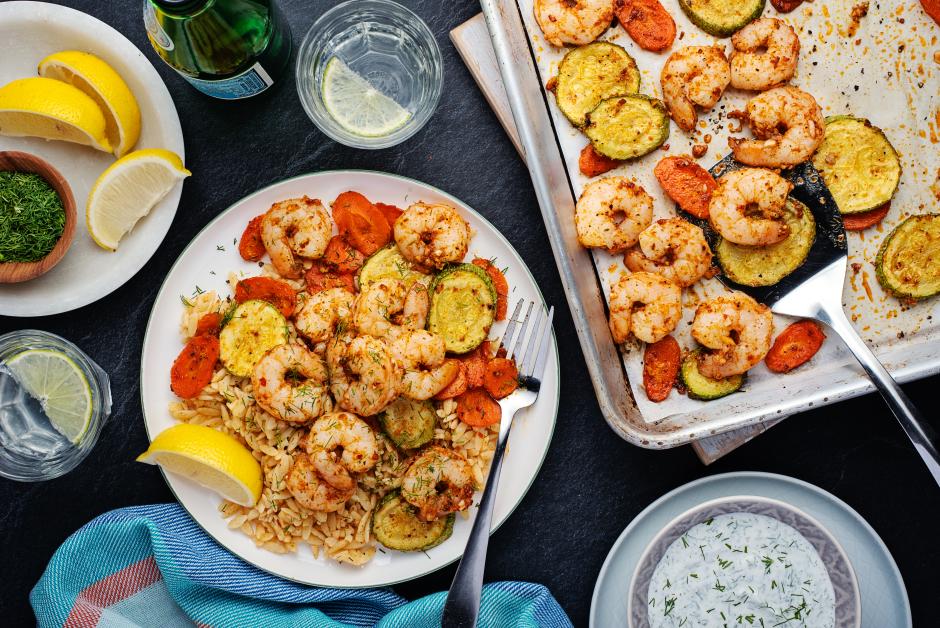 Harissa Shrimp Traybake