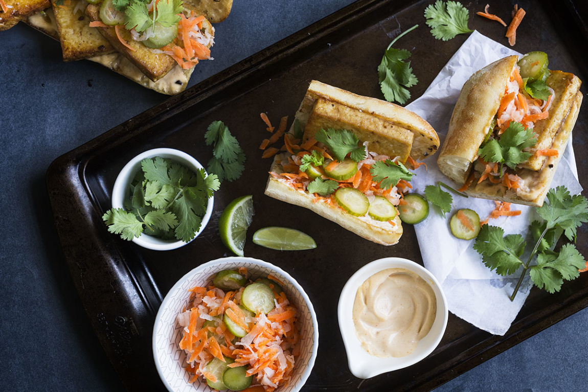 Seared Tofu Banh Mi with Pickled Vegetables