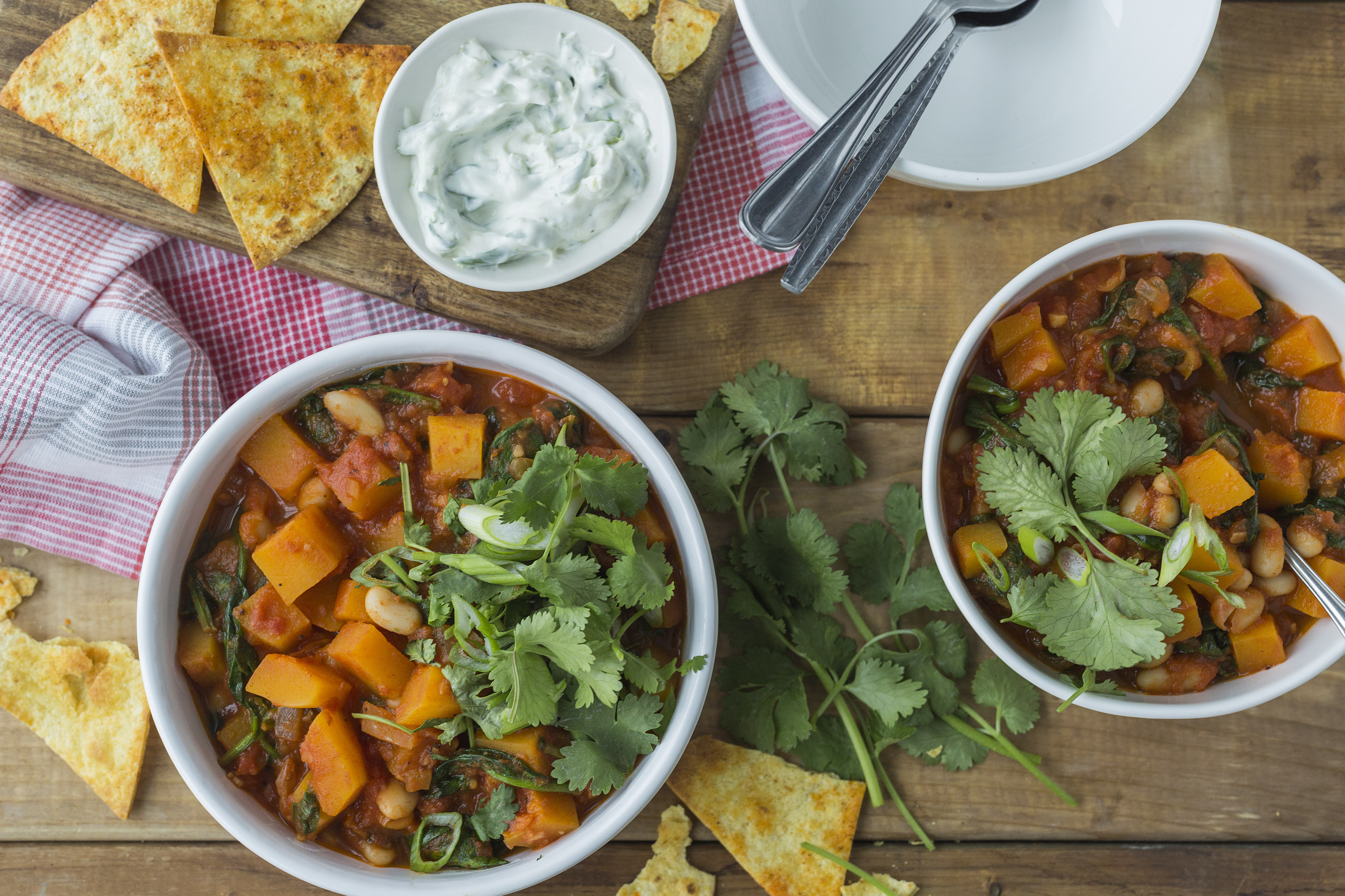 Butternut Squash Chili with Spinach