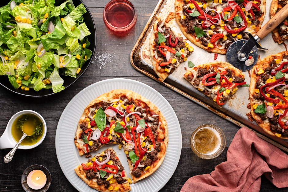 Naan Pizzas with Spiced Ground Beef