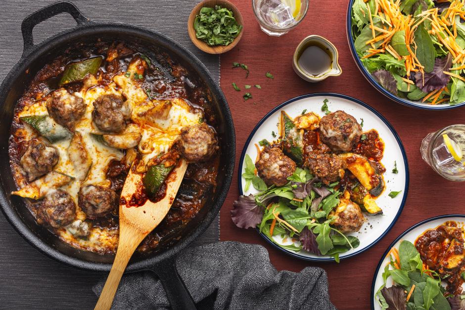 Beef & Sun-Dried Tomato Meatballs Au Gratin