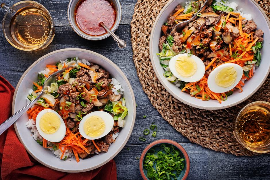 Korean-Style Beef Bibimbap Bowls