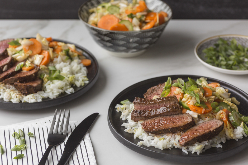 Seared Steaks with Homemade Kimchi