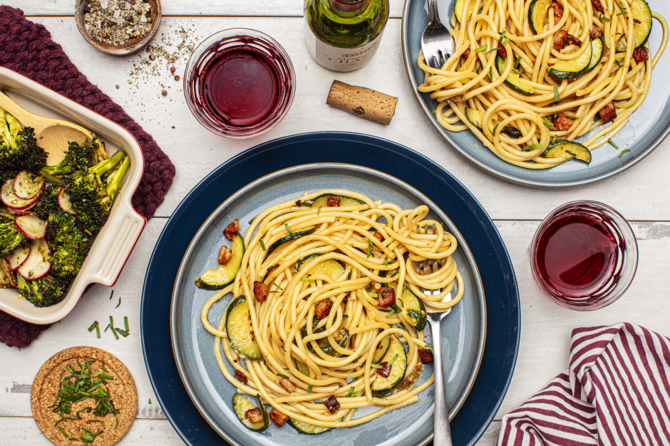 Bucatini Cacio e Pepe with Pancetta & Zucchini