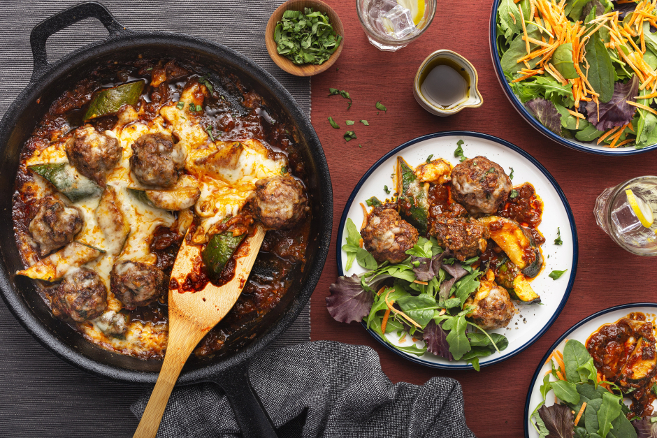 Pork & Sun-Dried Tomato Meatballs Au Gratin