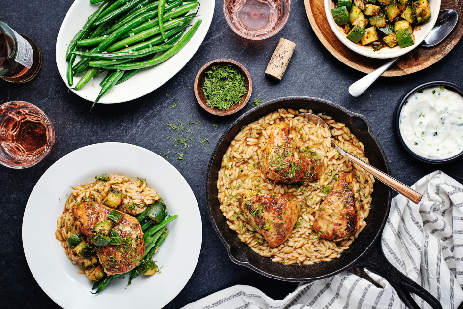 Greek-Spiced Chicken & Orzo Skillet