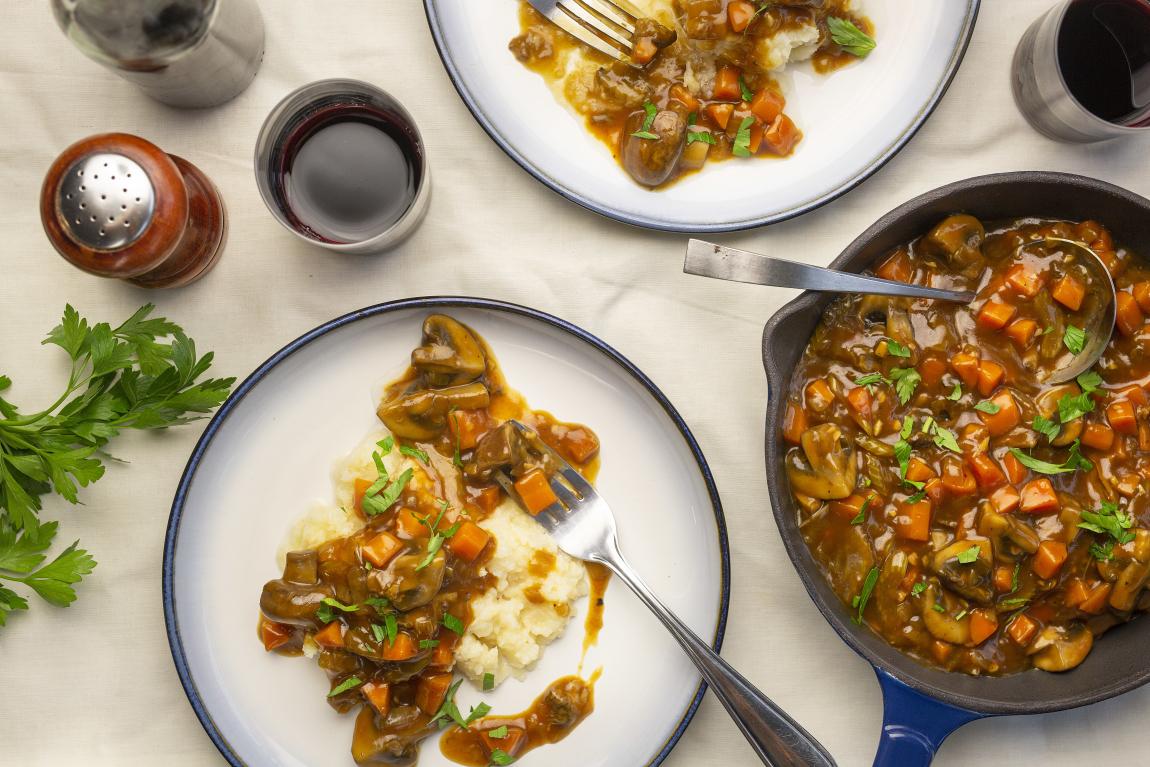Vegetarian Bourguignon with Porcini & Cremini Mushrooms