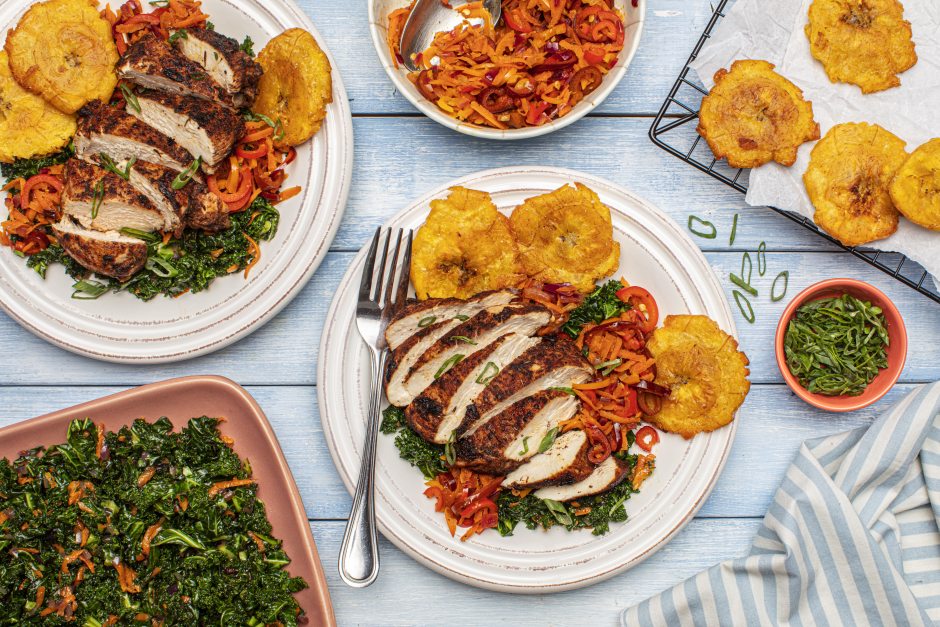 Caribbean-Spiced Chicken Breasts & Smashed Plantain