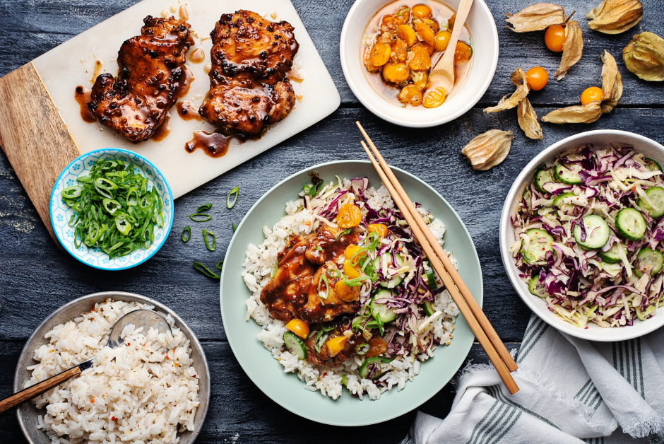 Asian-Style Chicken Bowls with Ground Cherry Vinaigrette