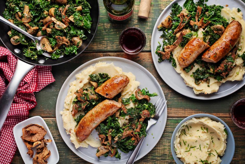 Sausage & Chanterelle Mushroom Fricassée