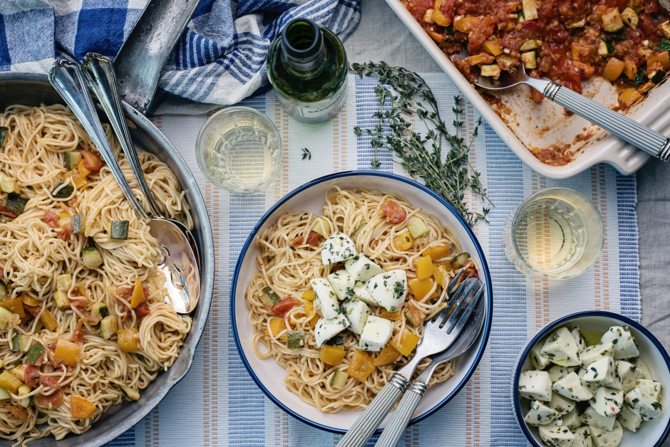 Roasted Ratatouille with Fresh Angel Hair Pasta