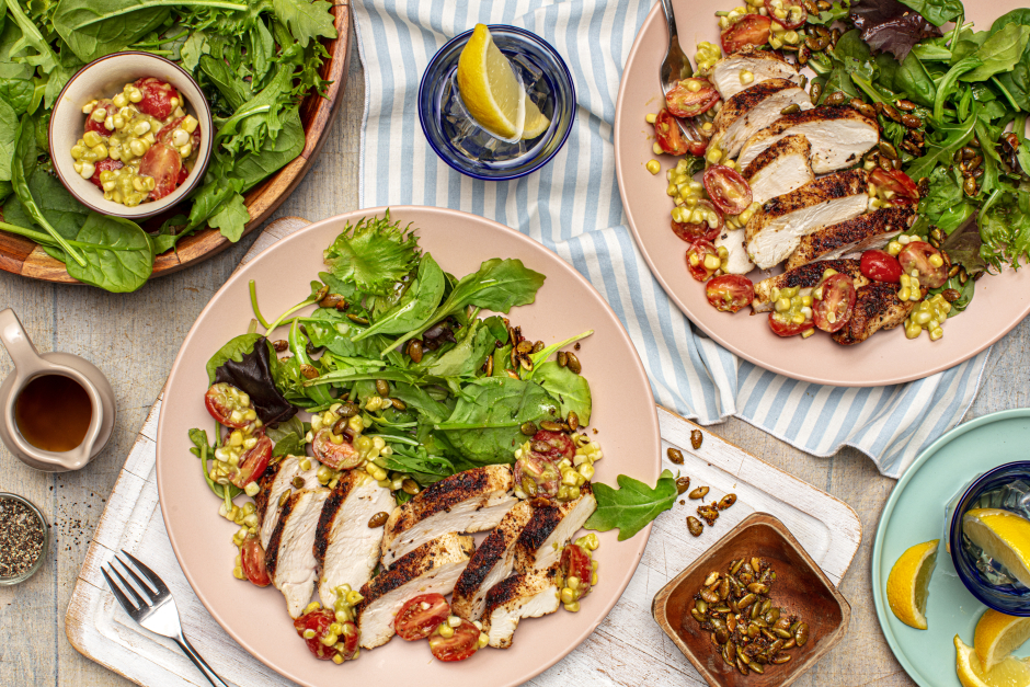 Smoky Ancho Chicken Breasts with Tomato-Corn Salsa