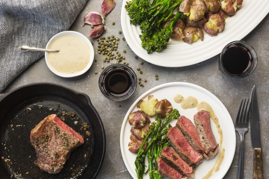 New York Strip Steak with Green Peppercorn Sauce