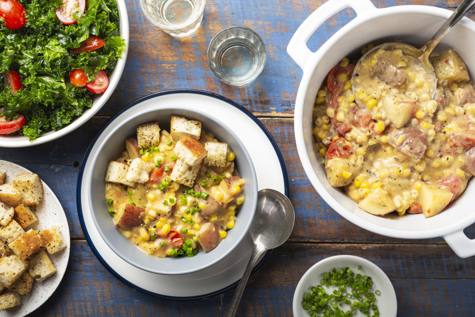 Chaudrée de maïs et de pommes de terre estivale