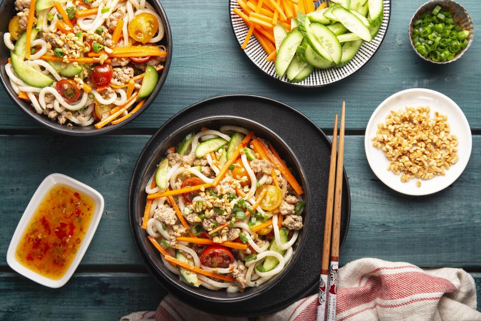 Ground Pork Larb Noodle Salad with Rainbow Vegetables