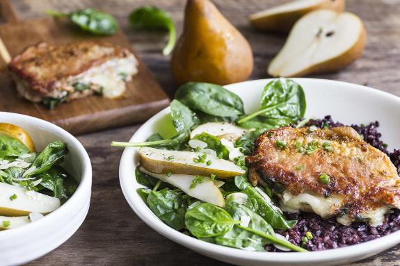 Cheese & Spinach Stuffed Pork Chops