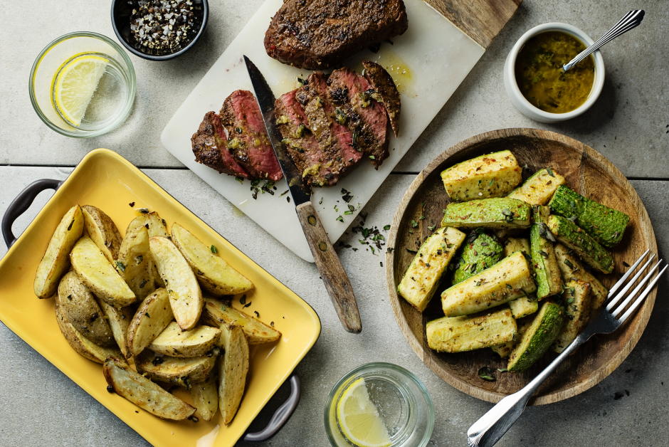 Seared Steaks with Lemon-Oregano Potatoes