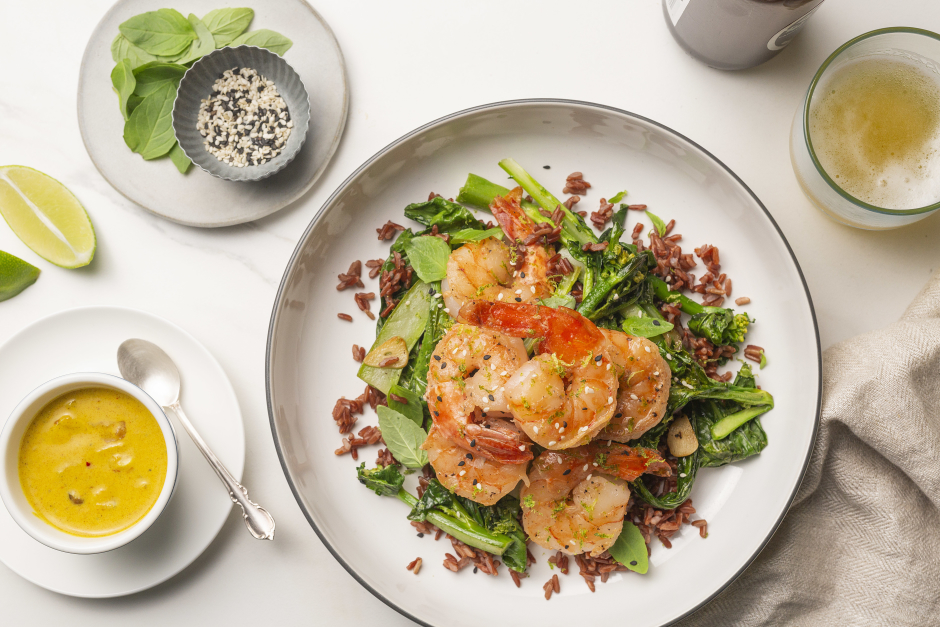 Seared Tiger Shrimp with Golden Coconut Sauce