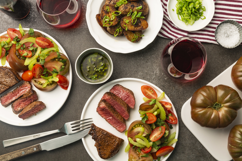 Filets Mignons with Bloody Mary Heirloom Tomato Salad