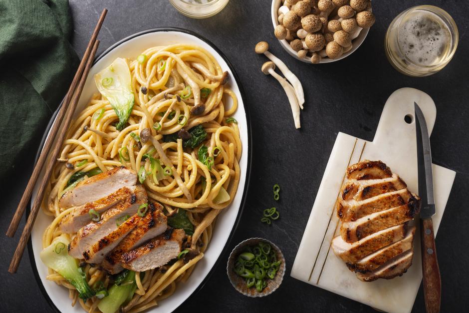 Spiced Pork Chops over Shimeji Mushroom Bucatini
