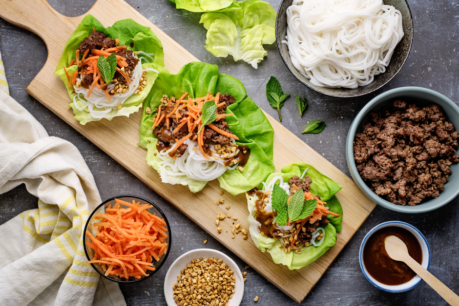 Vietnamese Beef Lettuce Cups with Rice Vermicelli