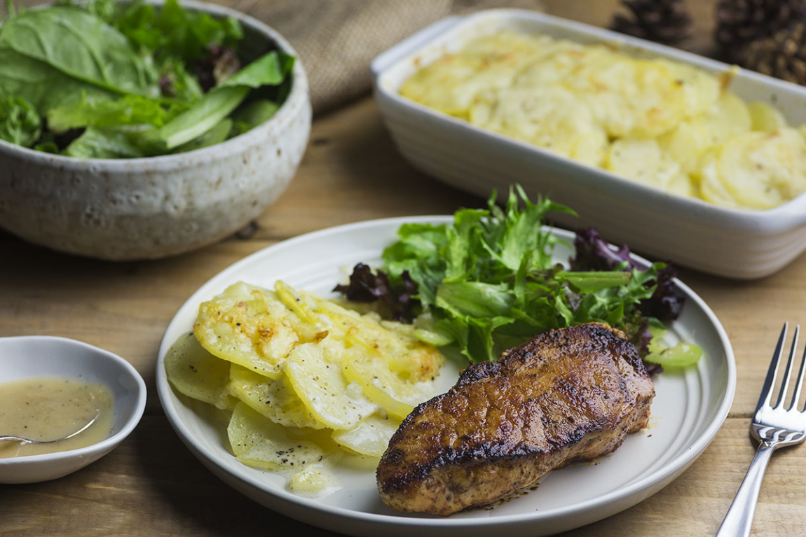 Whisky-Rubbed Pork Chops with Scalloped Potatoes