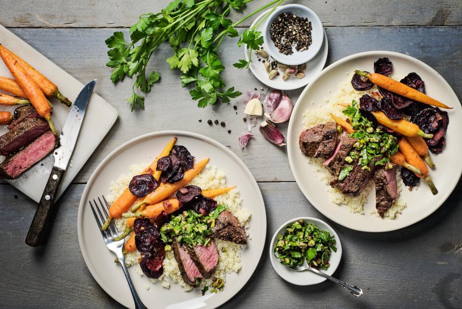 Seared Steaks with Pistachio Salsa Rustica