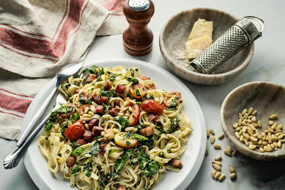 Pancetta, Kale & Cherry Tomato Tagliolini
