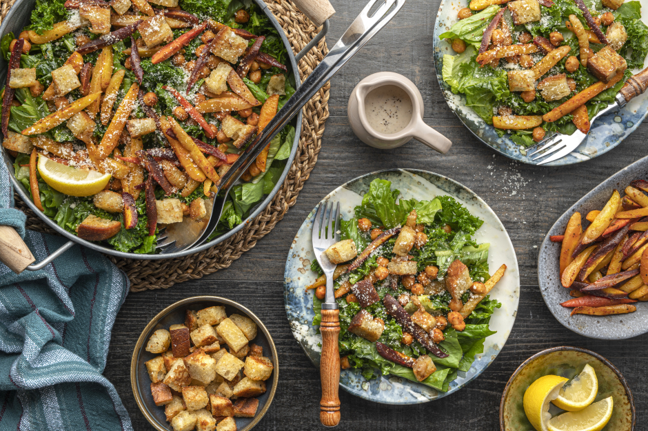 Rustic Caesar Salad with Spiced Chickpeas & Carrots