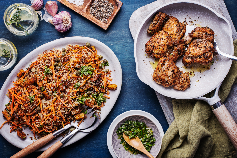 Spiced Chicken Thighs with Roasted Squash Quinoa Pilaf