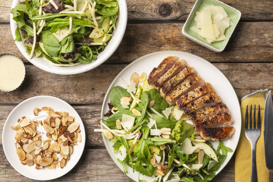 Lemon-Herbed Pork Chops with Apple & Celery Root Salad