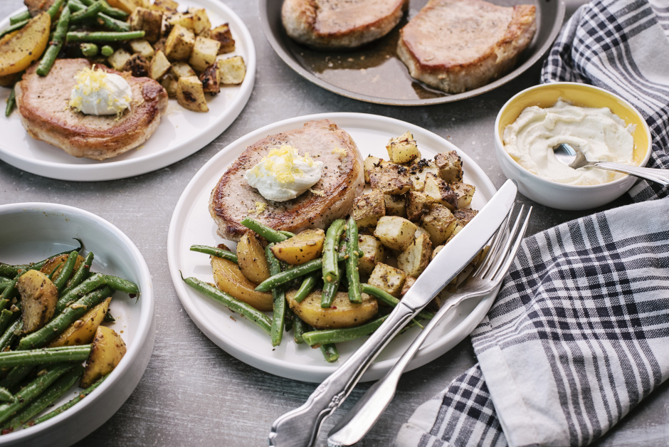 Pork Chops with Whipped Goat Cheese