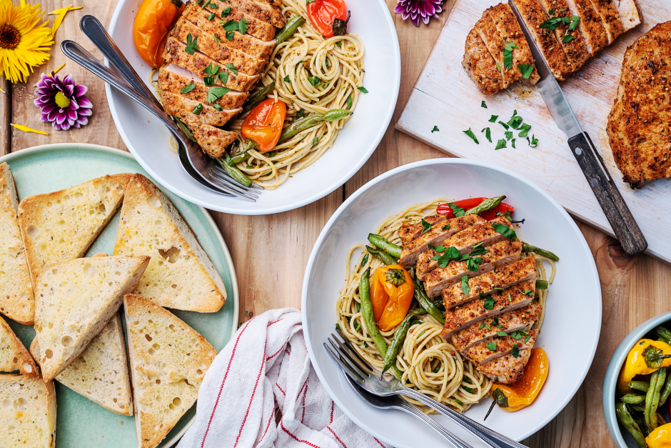 Sicilian-Style Pork Chops over Herbed Spaghettini