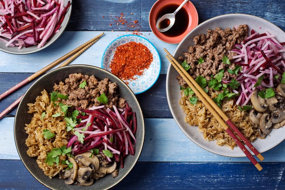 Ground Beef Korean Bibimbap with Daikon-Beet Salad