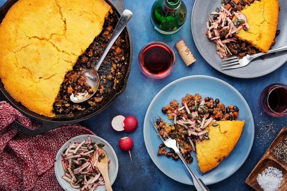 Ground Beef, Black Bean & Poblano Tamale Pie