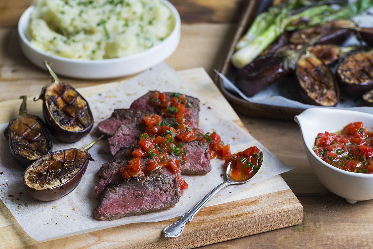 Steak with Mosto Cotto Glazed Mini Eggplants