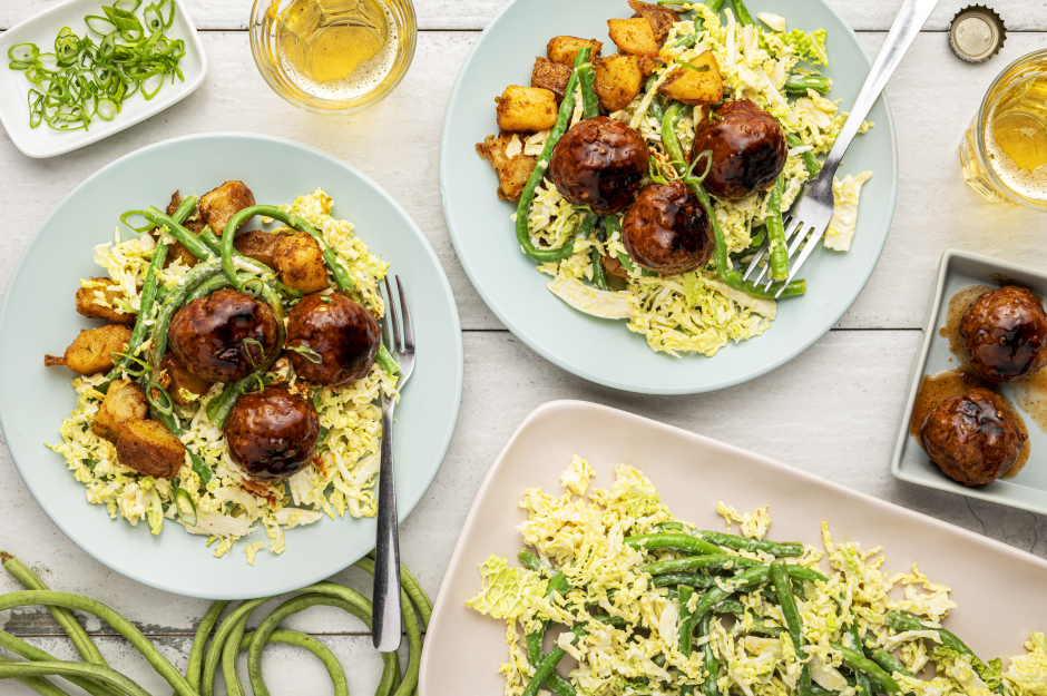 Southern-Style Pork Meatballs & Long Bean Slaw