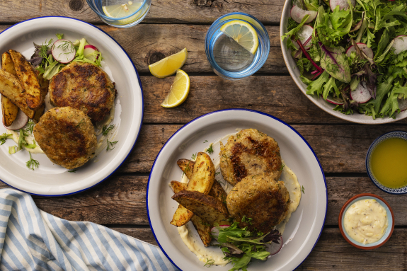 Cod Cakes with Potato Wedges