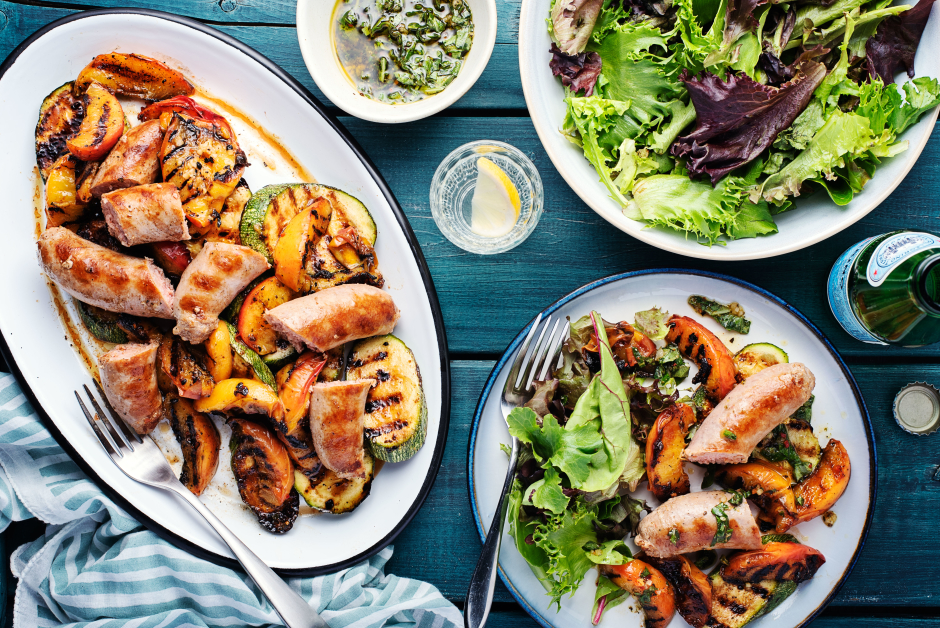 Grilled Sausages, Peaches & Zucchini