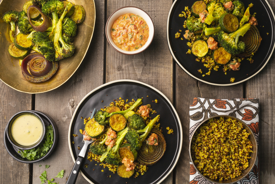 Curry-Roasted Vegetables Over Quinoa