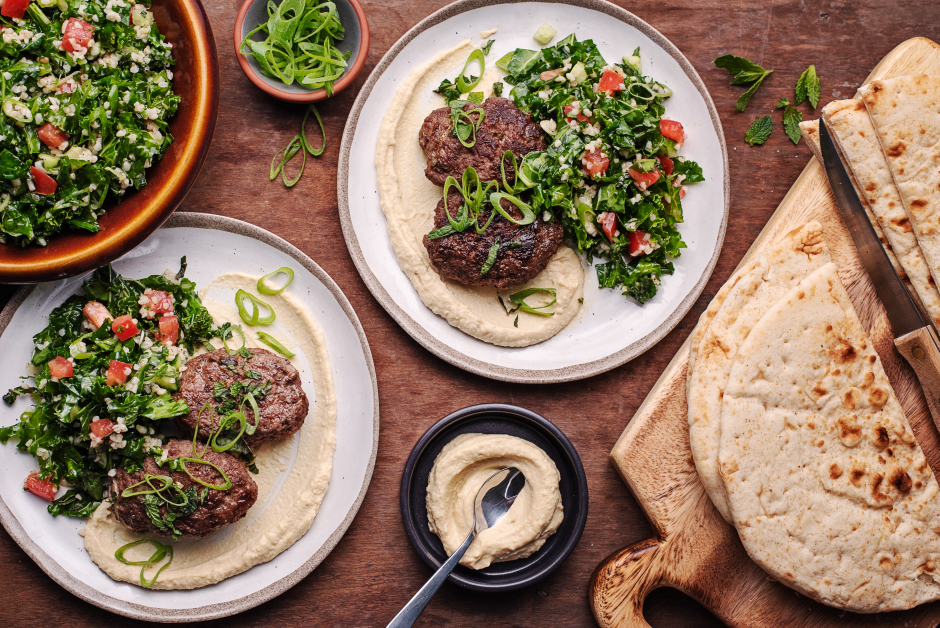 Lebanese Beef Kefta with Hummus