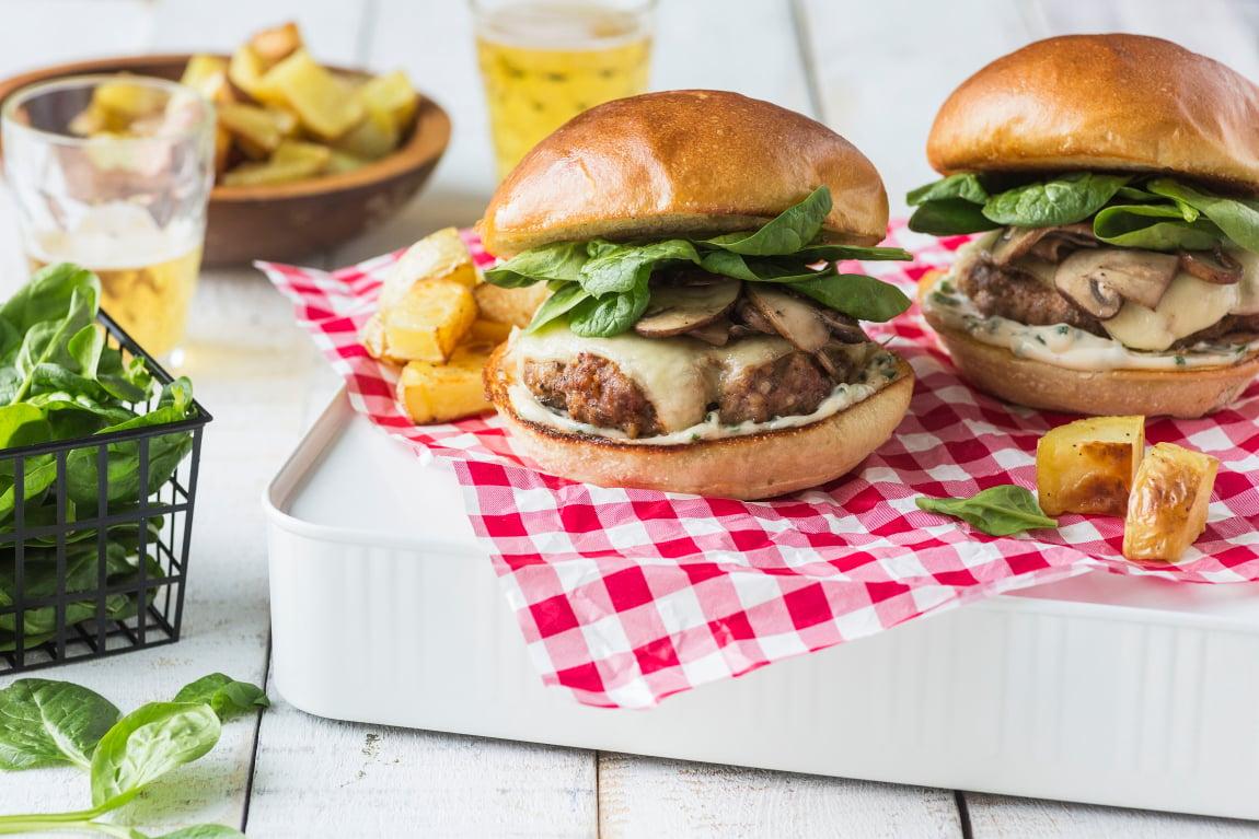 Pork Burgers with Sautéed Mushrooms