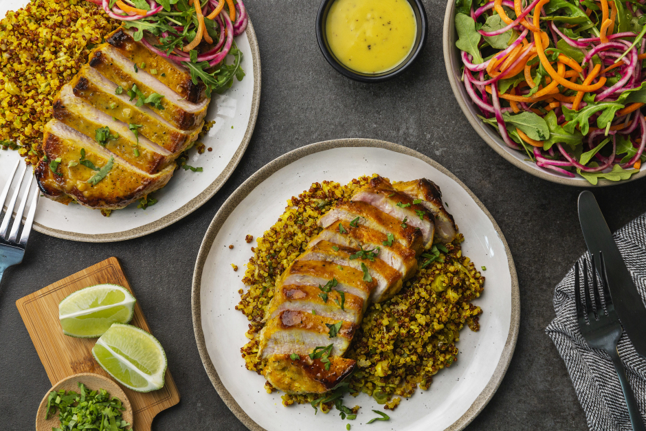 Golden Pork Chops over Scallion-Lime Quinoa