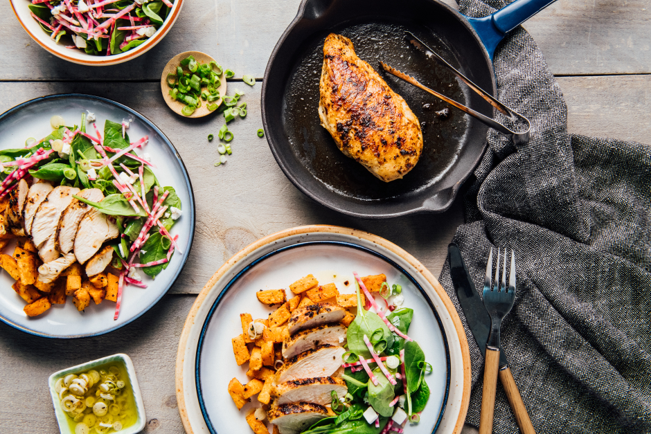 Seared Chicken with Roasted Sweet Potatoes