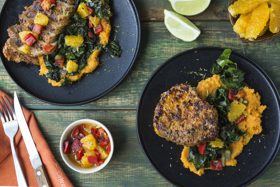 Spiced-Rubbed Pork Chops with Citrus & Roasted Pepper Salsa