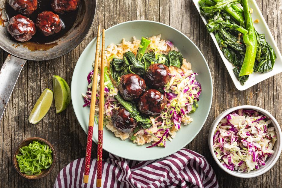 Saucy Pork Meatballs over Jasmine Rice