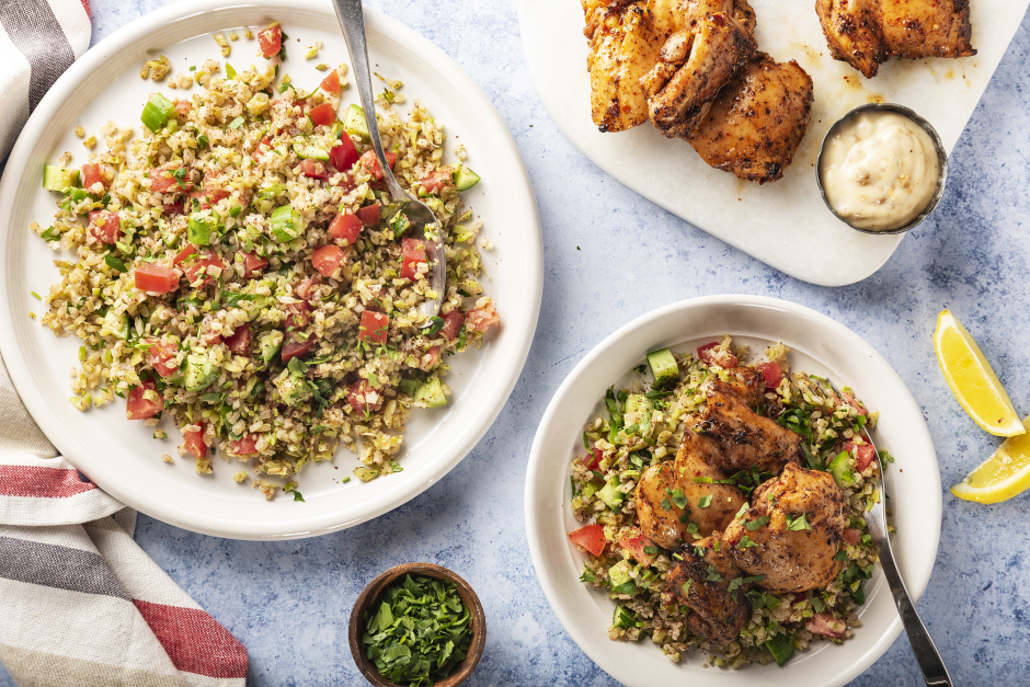 Lemon-Harissa Roasted Chicken with Broccoli Tabbouleh